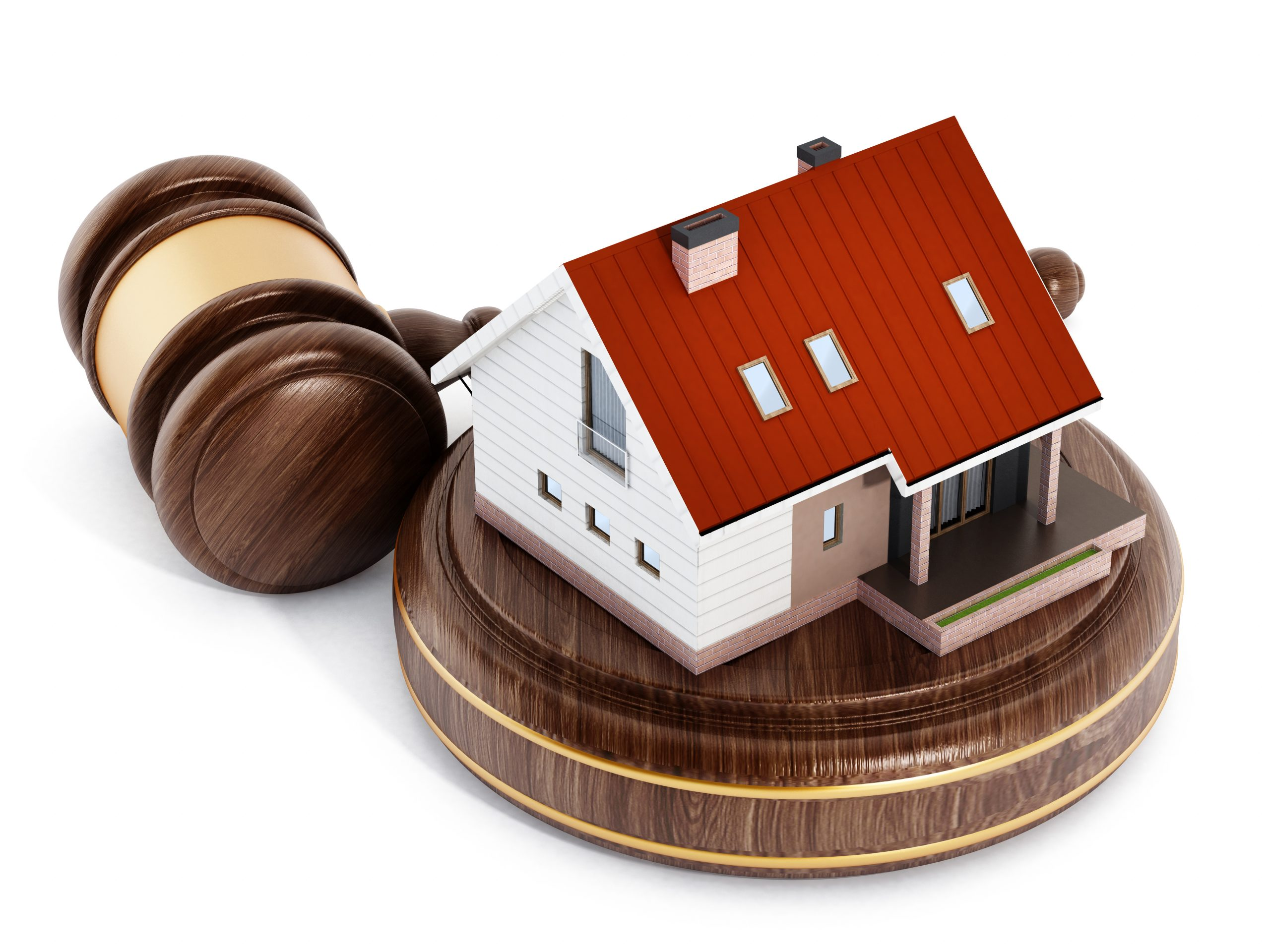 House under a wooden gavel. 3D illustration.