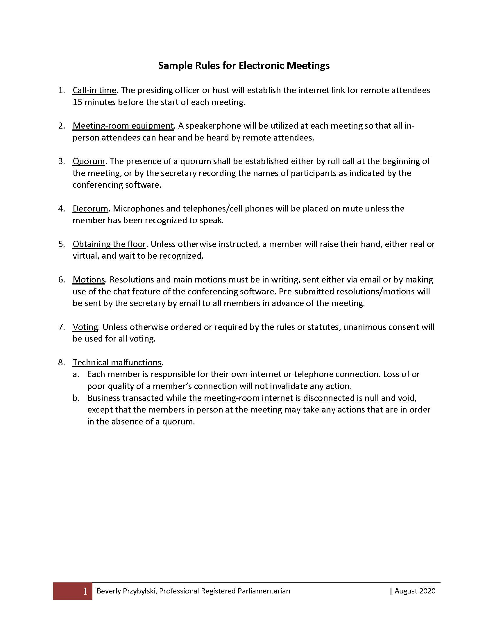 Sample Rules for Electronic Meetings